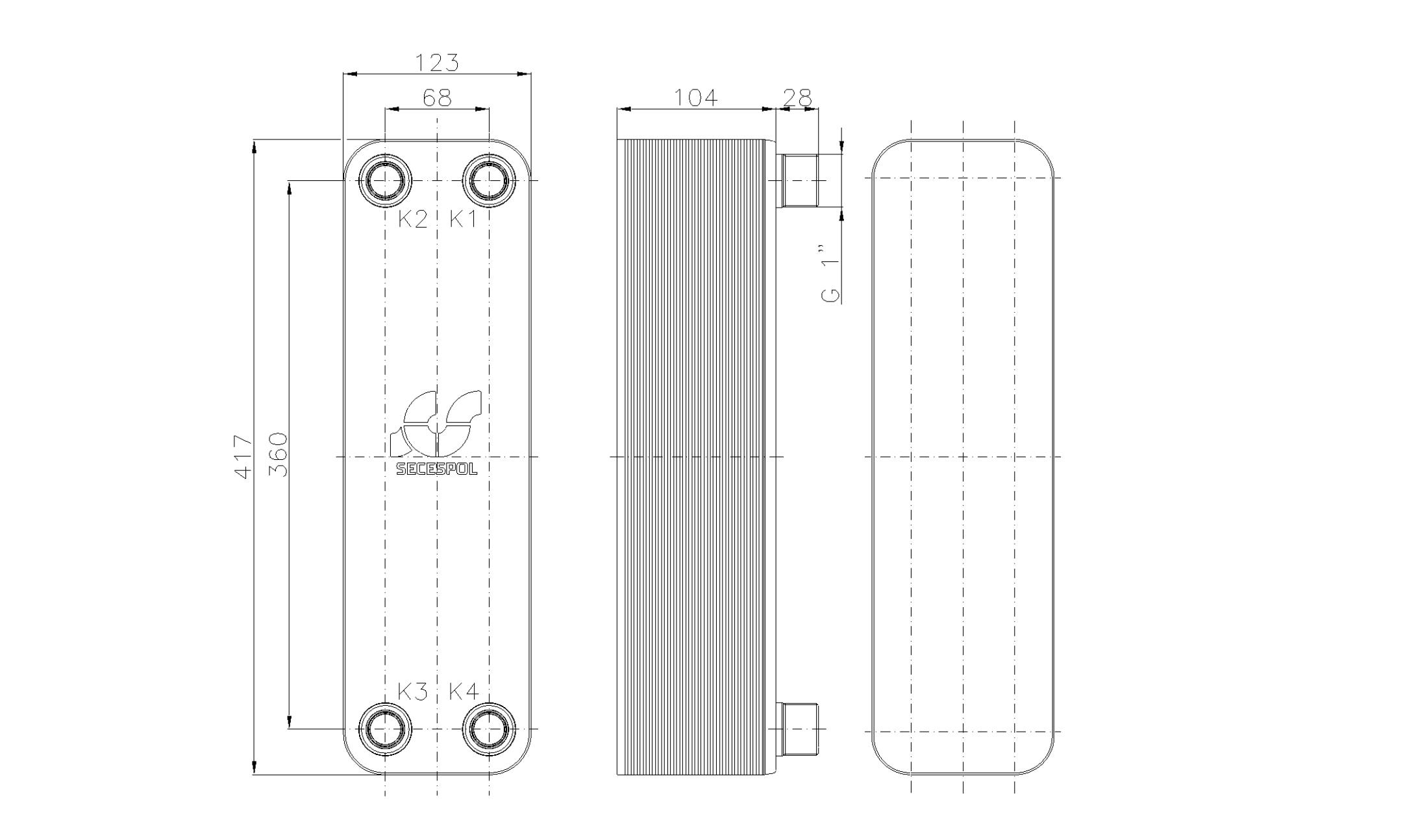 """Габаритные размеры паяного пластинчатого теплообменника Secespol LB47-40-1"""""""