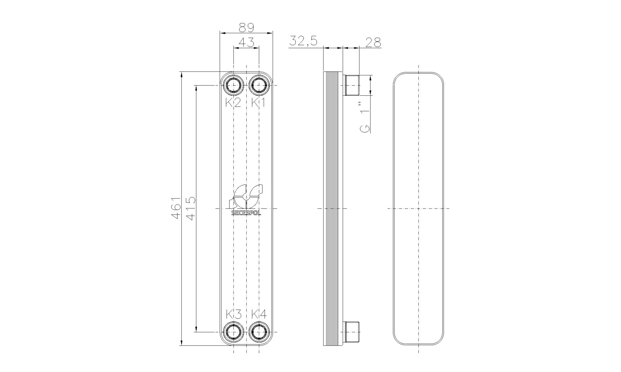"""Габаритные размеры паяного пластинчатого теплообменника Secespol LH40-10H-1"""""""
