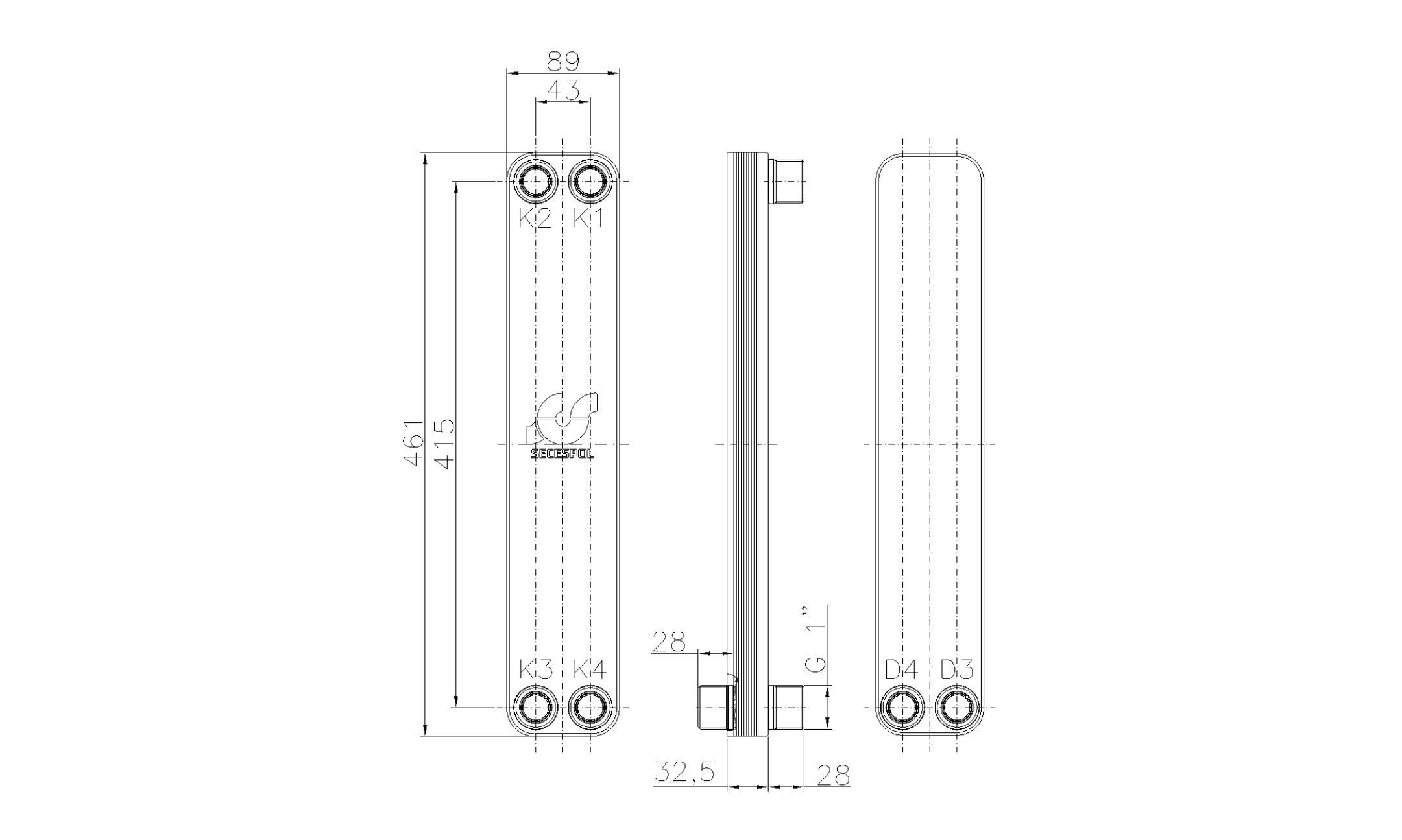 """Габаритные размеры паяного пластинчатого теплообменника Secespol LH40-10H-2S-1"""""""