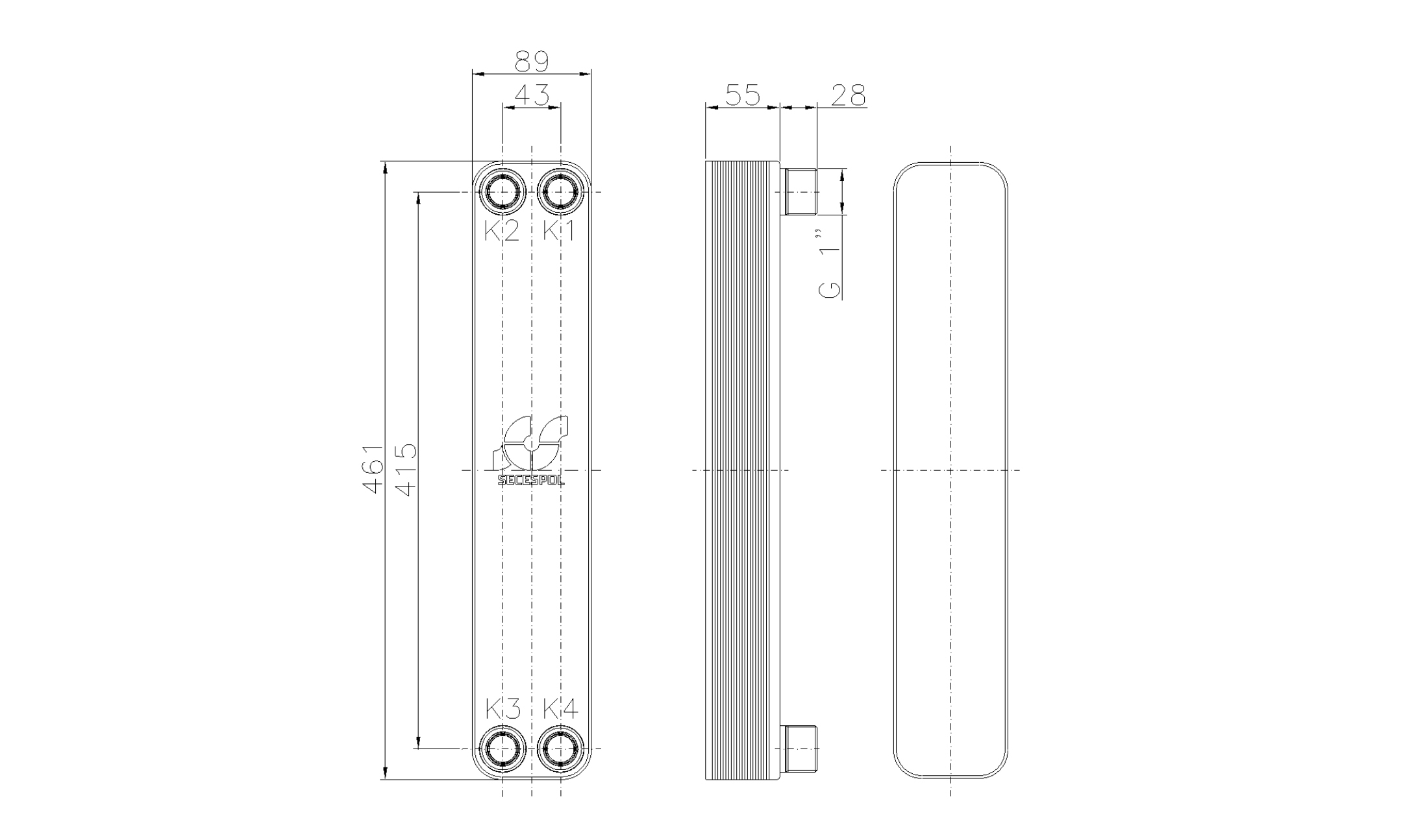 """Габаритные размеры паяного пластинчатого теплообменника Secespol LH40-20H-1"""""""