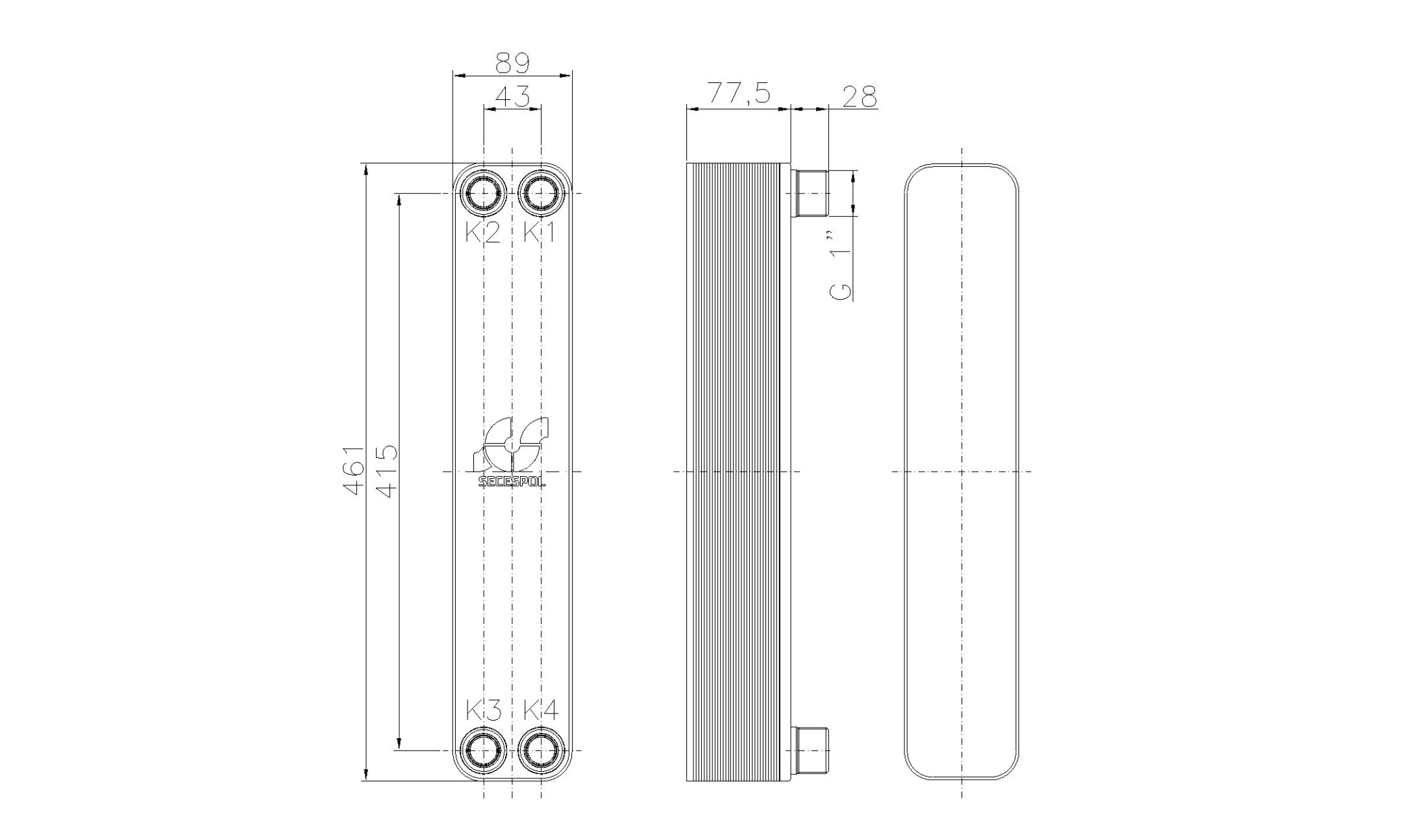 """Габаритные размеры паяного пластинчатого теплообменника Secespol LH40-30H-1"""""""