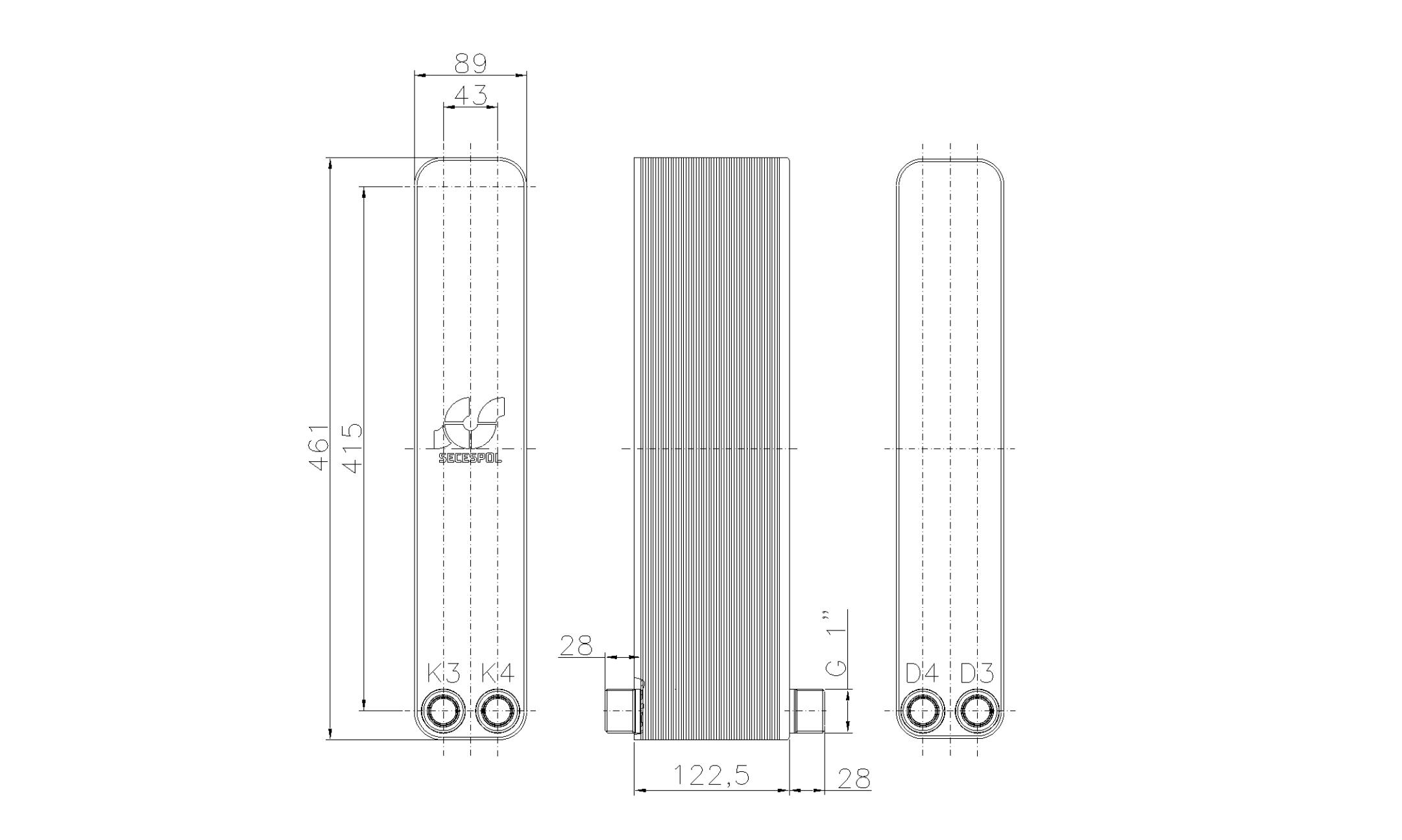 """Габаритные размеры паяного пластинчатого теплообменника Secespol LH40-50H-2-1"""""""