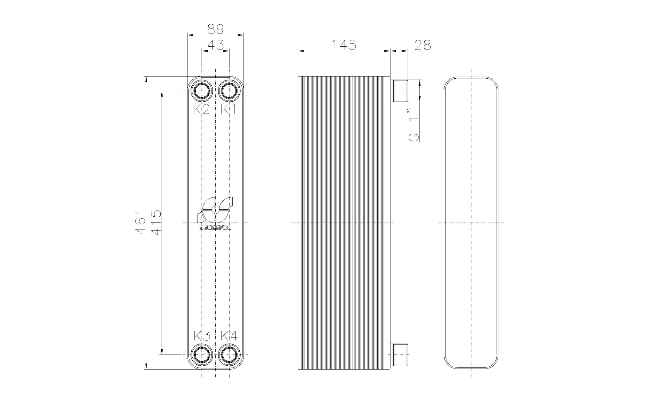 """Габаритные размеры паяного пластинчатого теплообменника Secespol LH40-60H-1"""""""