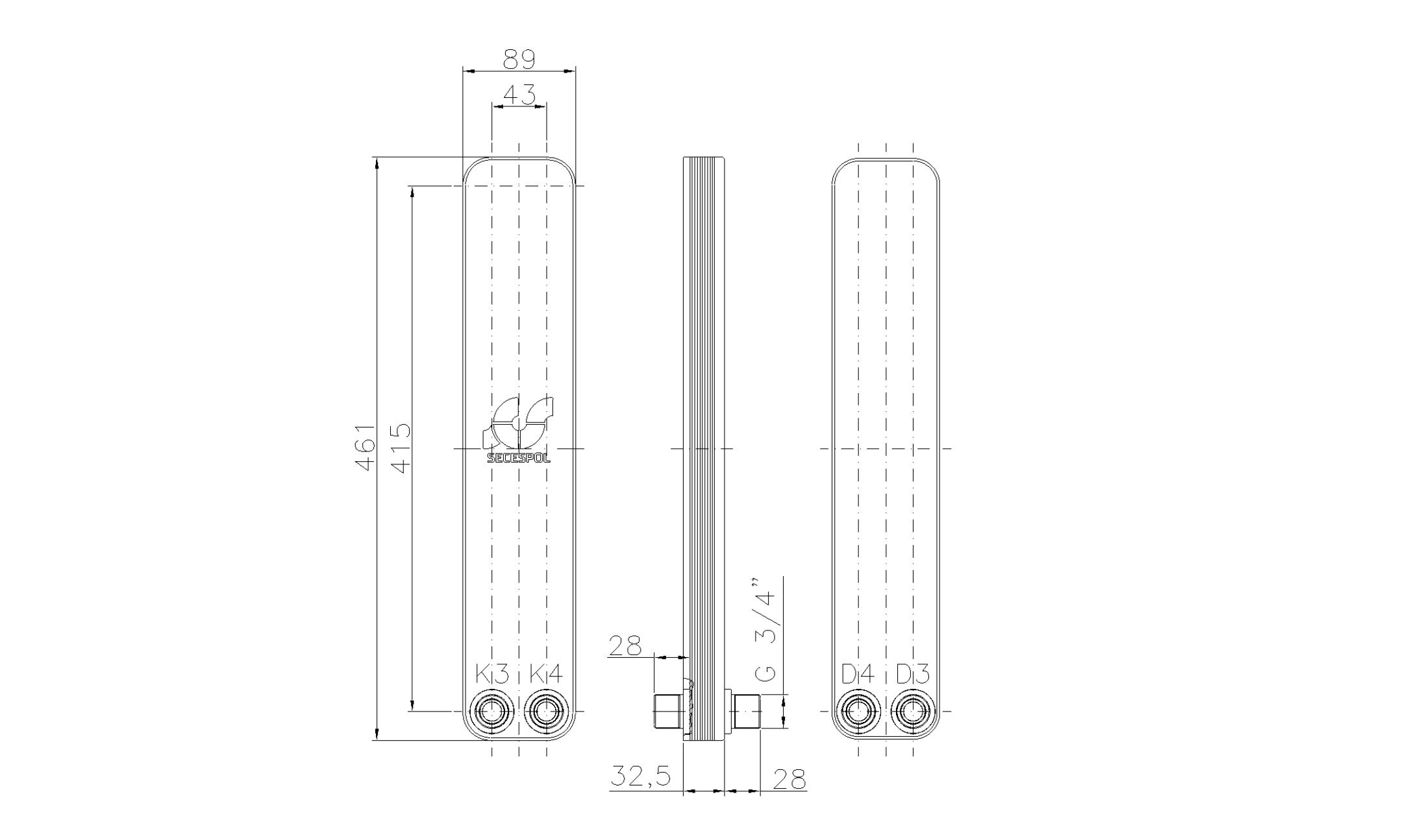 """Габаритные размеры паяного пластинчатого теплообменника Secespol LH40-10H-2-3/4"""""""