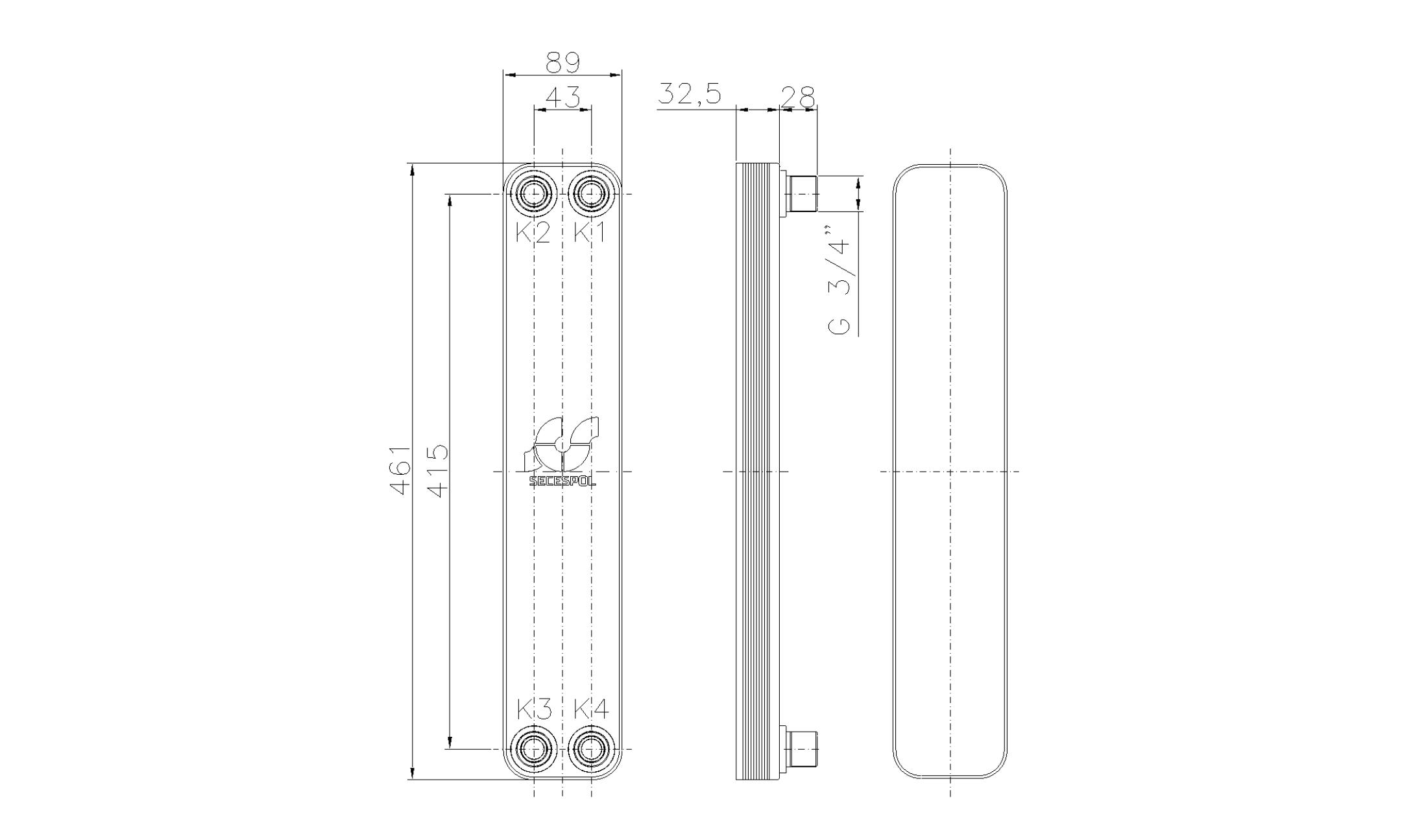"""Габаритные размеры паяного пластинчатого теплообменника Secespol LH40-10H-3/4"""""""