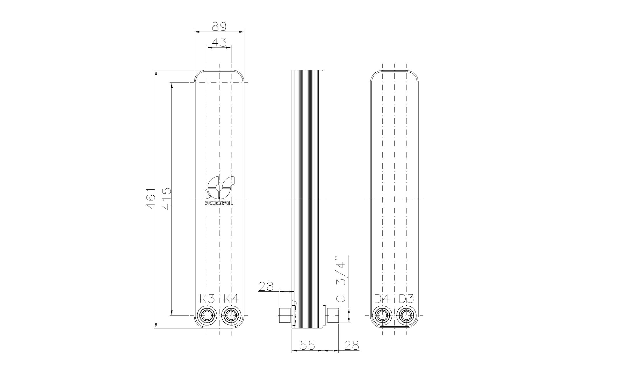 """Габаритные размеры паяного пластинчатого теплообменника Secespol LH40-20H-2-3/4"""""""