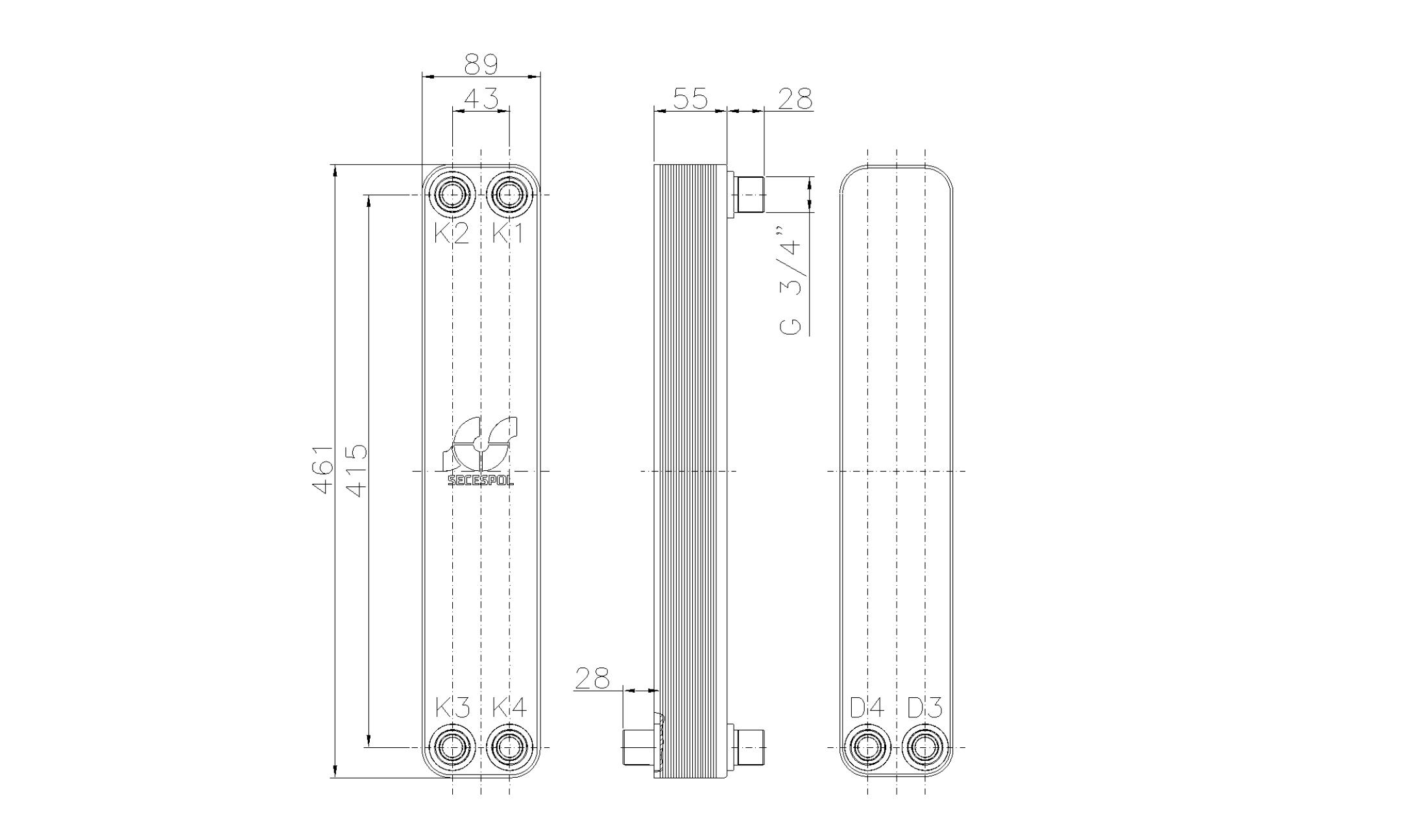 """Габаритные размеры паяного пластинчатого теплообменника Secespol LH40-20H-2S-3/4"""""""