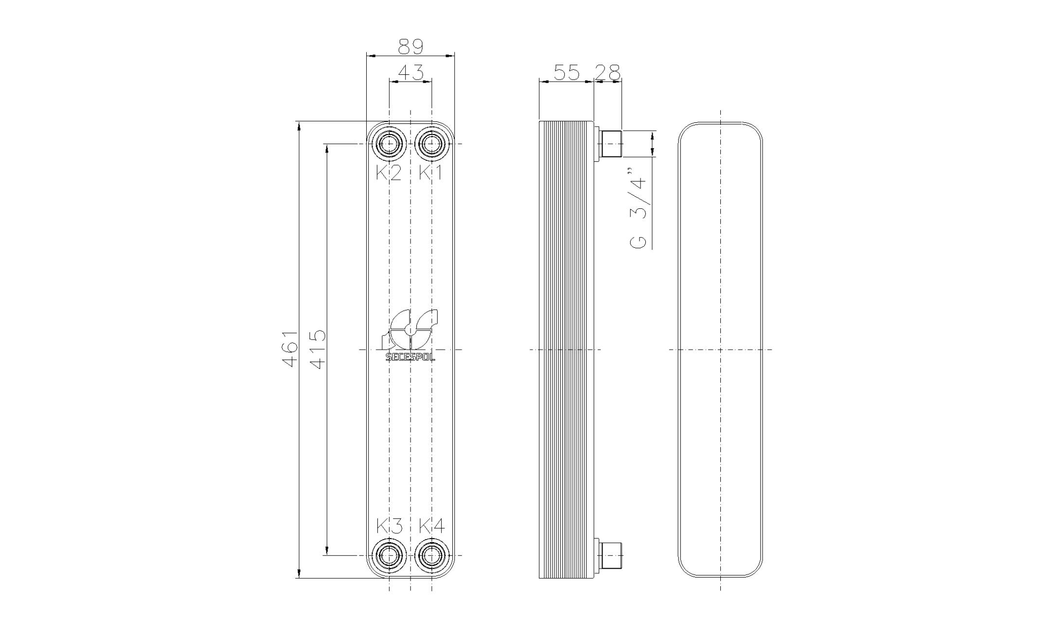 """Габаритные размеры паяного пластинчатого теплообменника Secespol LH40-20H-3/4"""""""