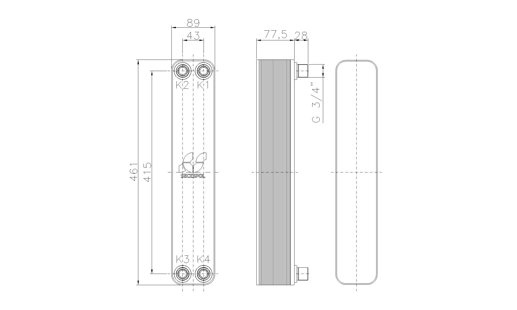 """Габаритные размеры паяного пластинчатого теплообменника Secespol LH40-30H-3/4"""""""