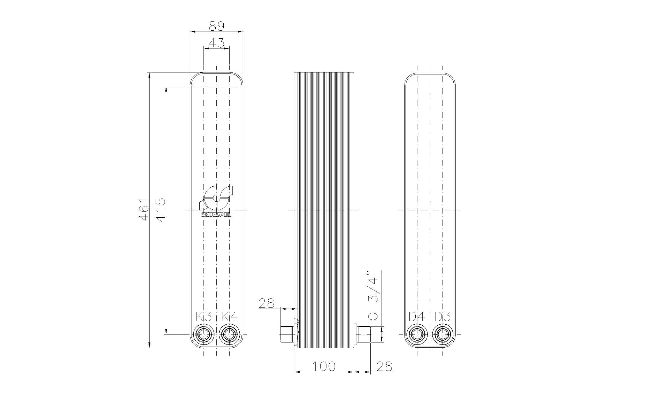 """Габаритные размеры паяного пластинчатого теплообменника Secespol LH40-40H-2-3/4"""""""