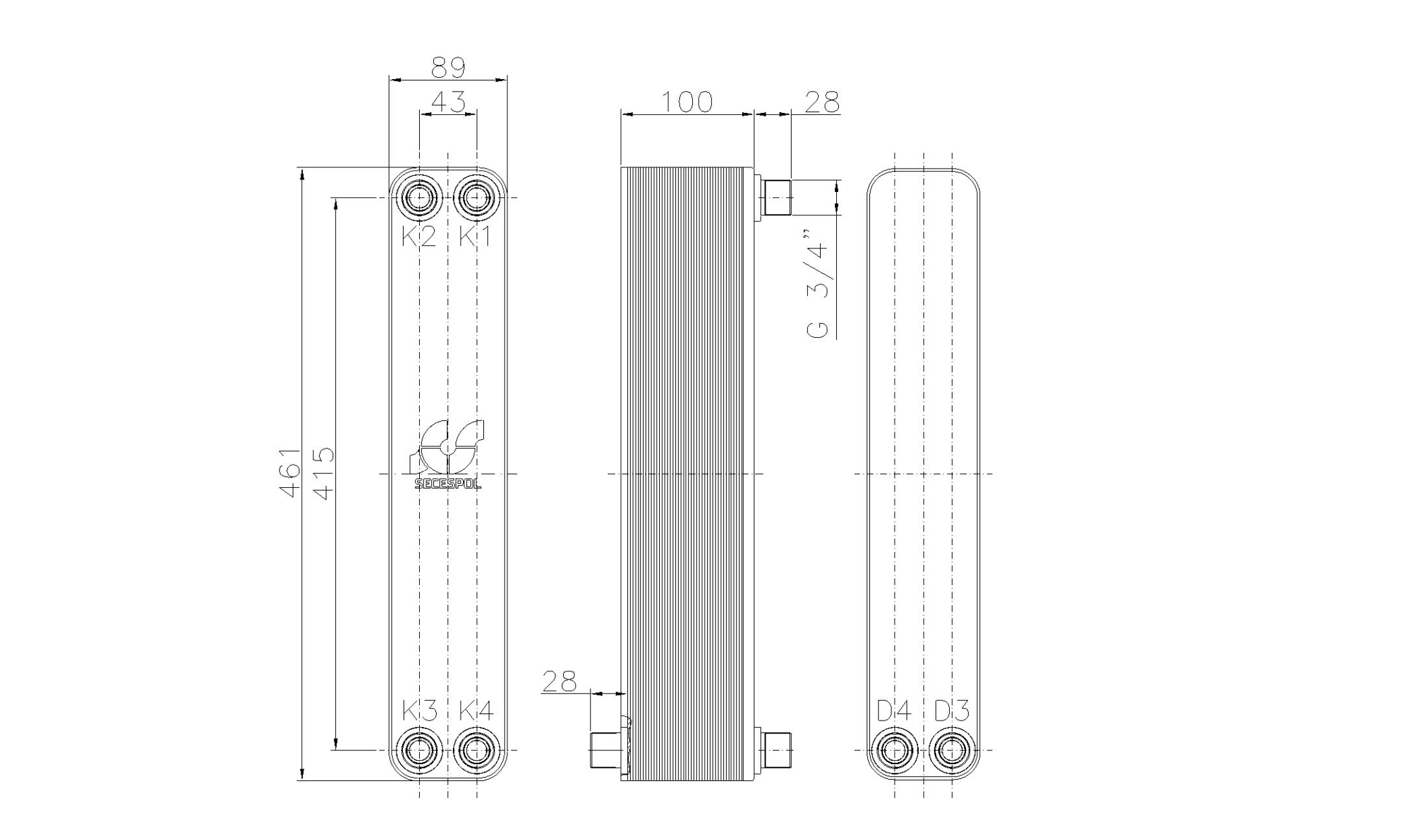 """Габаритные размеры паяного пластинчатого теплообменника Secespol LH40-40H-2S-3/4"""""""