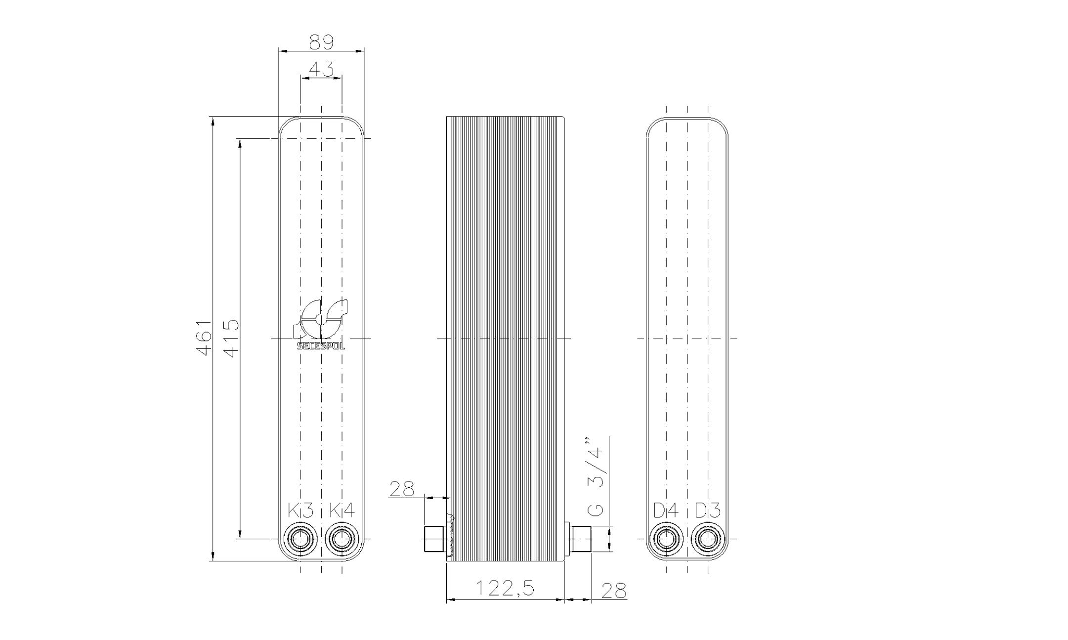 """Габаритные размеры паяного пластинчатого теплообменника Secespol LH40-50H-2-3/4"""""""