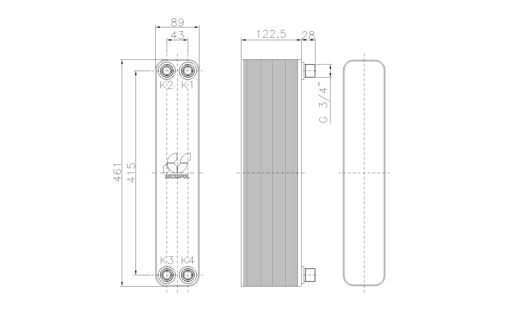 """Габаритные размеры паяного пластинчатого теплообменника Secespol LH40-50H-3/4"""""""