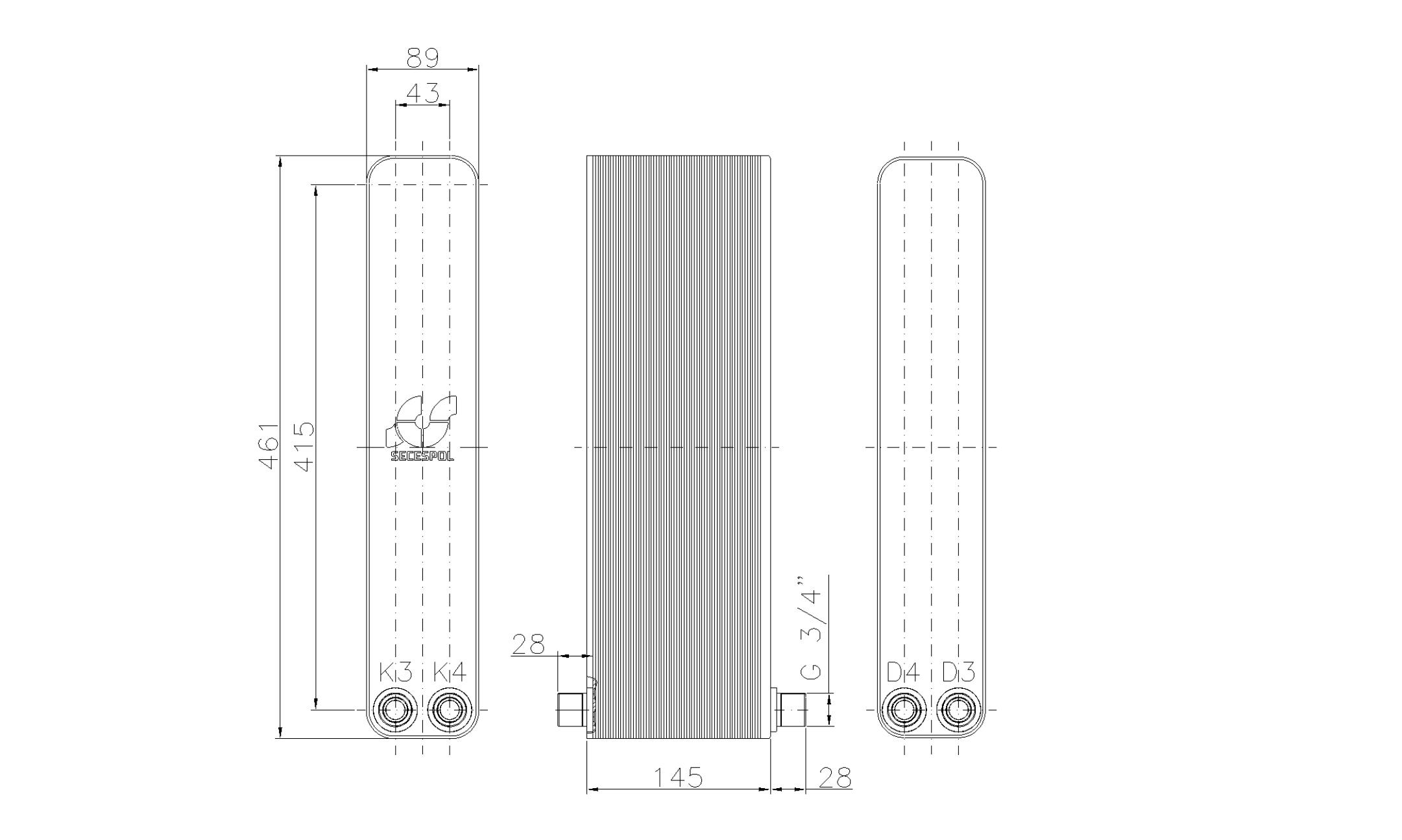 """Габаритные размеры паяного пластинчатого теплообменника Secespol LH40-60H-2-3/4"""""""