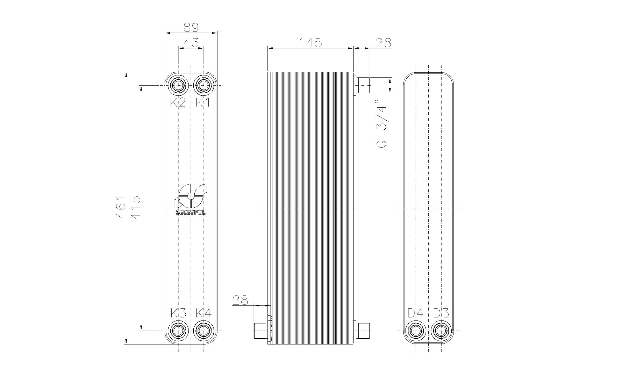 """Габаритные размеры паяного пластинчатого теплообменника Secespol LH40-60H-2S-3/4"""""""