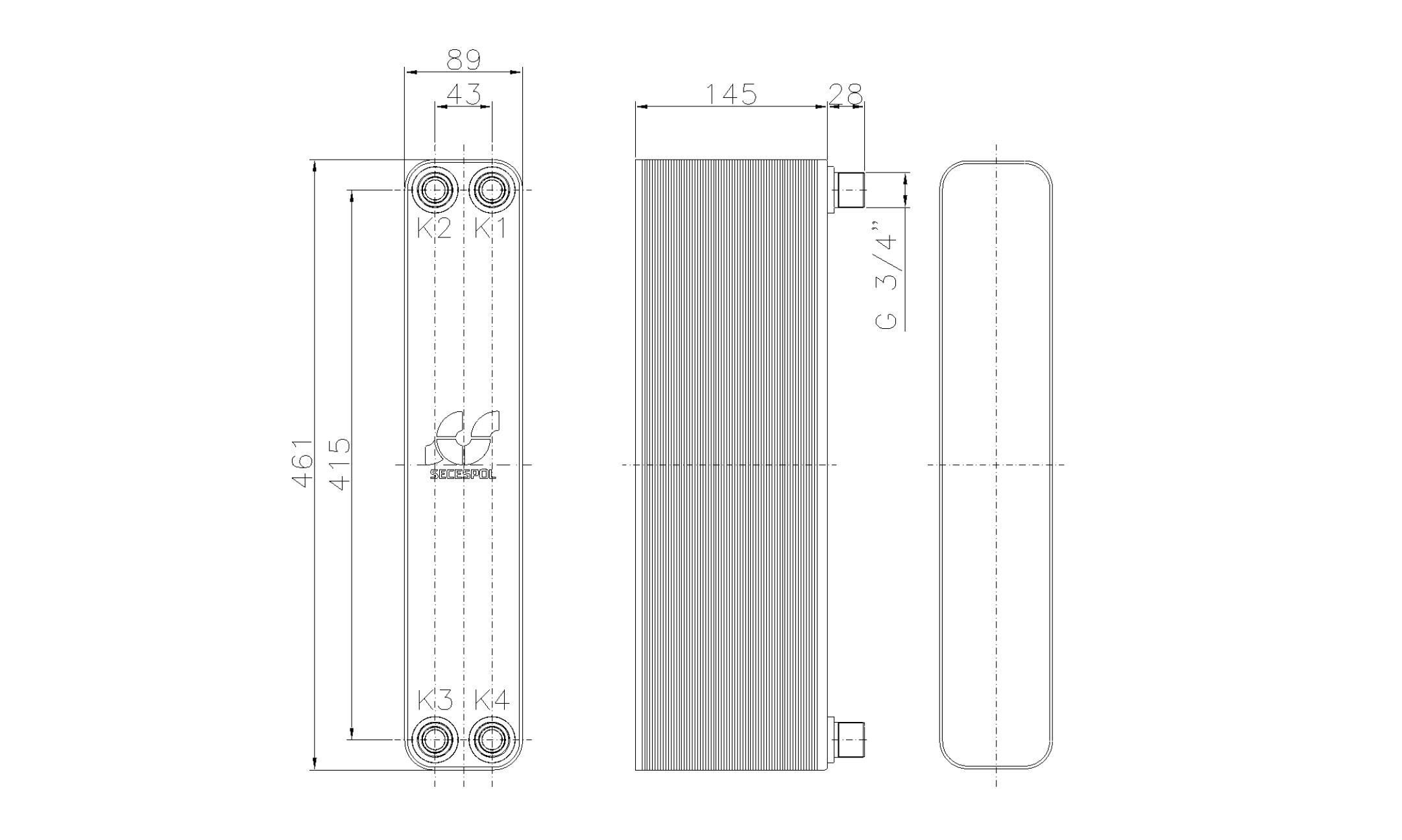 """Габаритные размеры паяного пластинчатого теплообменника Secespol LH40-60H-3/4"""""""